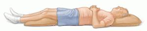 En decúbito dorsal acostado boca arriba